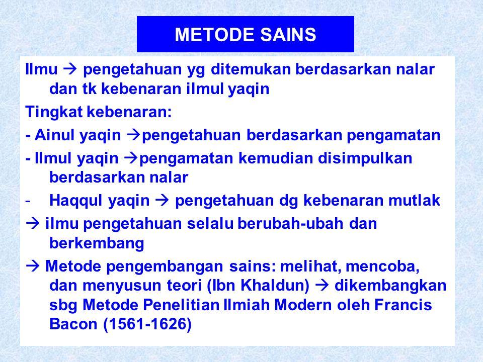 METODE SAINS Ilmu  pengetahuan yg ditemukan berdasarkan nalar dan tk kebenaran ilmul yaqin Tingkat kebenaran: - Ainul yaqin  pengetahuan berdasarkan