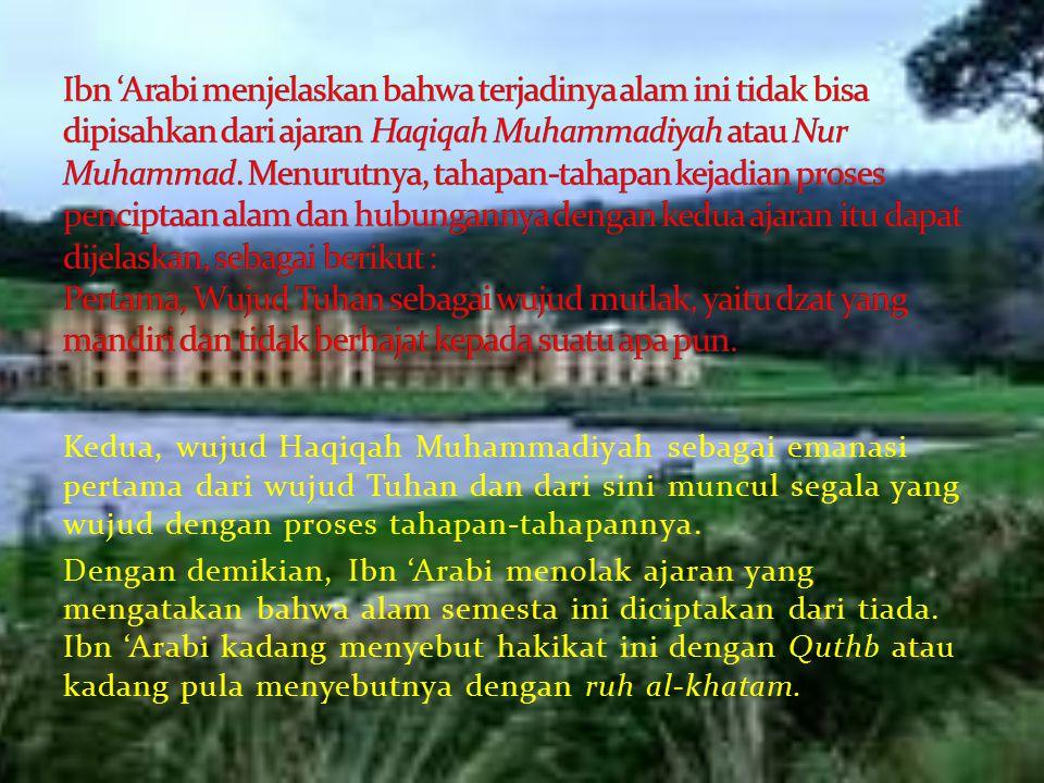 Kedua, wujud Haqiqah Muhammadiyah sebagai emanasi pertama dari wujud Tuhan dan dari sini muncul segala yang wujud dengan proses tahapan-tahapannya.
