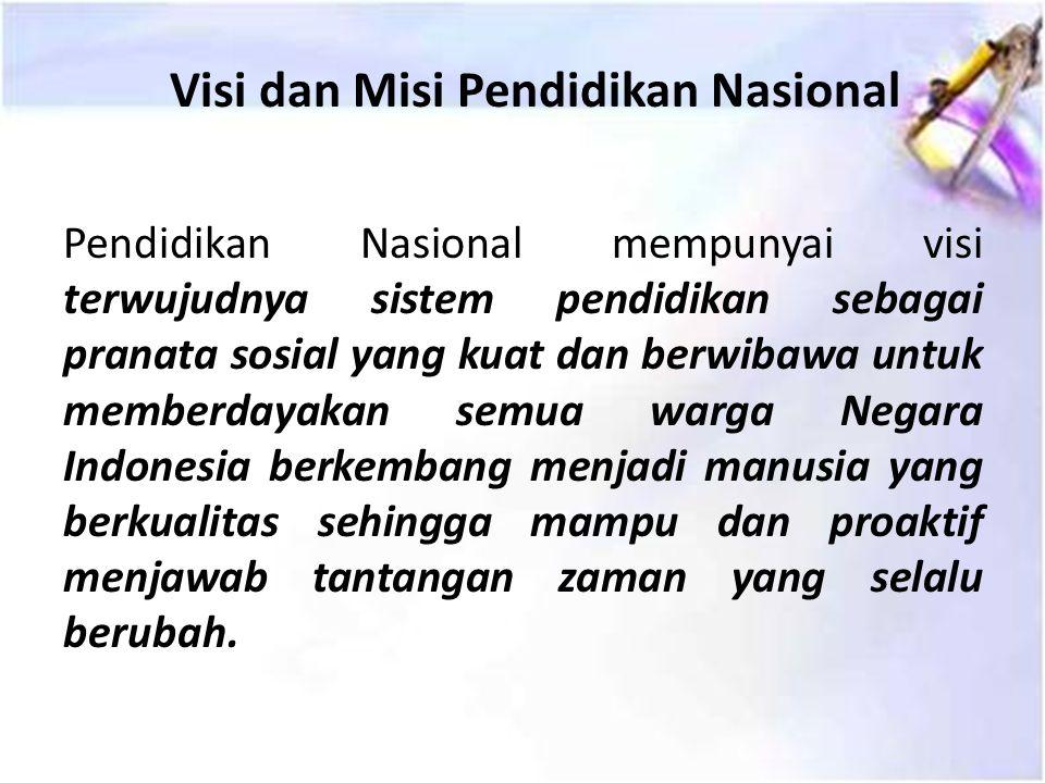 Pendidikan Nasional adalah pendidikan yang berdasarkan Pancasila dan Undang-Undang Dasar Negara Republik Indonesia Tahun 1945, yang berakar pada nilai-nilai agama, kebudayaan nasional Indonesia dan tanggap terhadap tuntutan perubahan zaman.