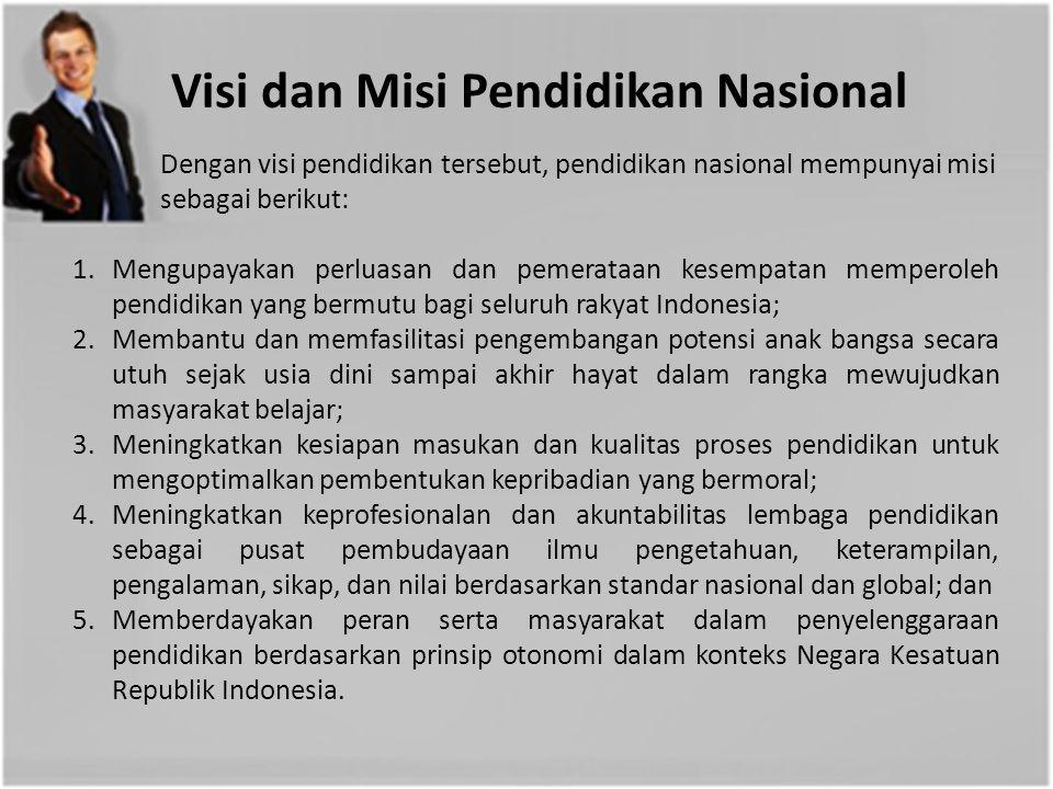 Visi dan Misi Pendidikan Nasional Pendidikan Nasional mempunyai visi terwujudnya sistem pendidikan sebagai pranata sosial yang kuat dan berwibawa untuk memberdayakan semua warga Negara Indonesia berkembang menjadi manusia yang berkualitas sehingga mampu dan proaktif menjawab tantangan zaman yang selalu berubah.