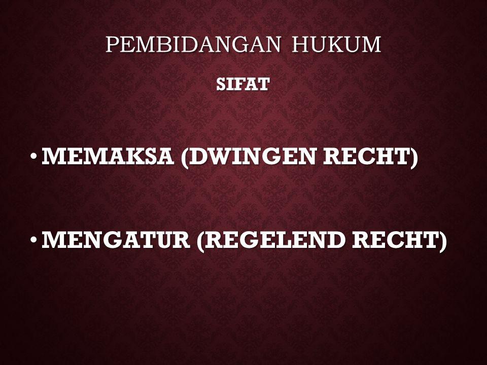 PEMBIDANGAN HUKUM SIFAT MEMAKSA (DWINGEN RECHT) MEMAKSA (DWINGEN RECHT) MENGATUR (REGELEND RECHT) MENGATUR (REGELEND RECHT)