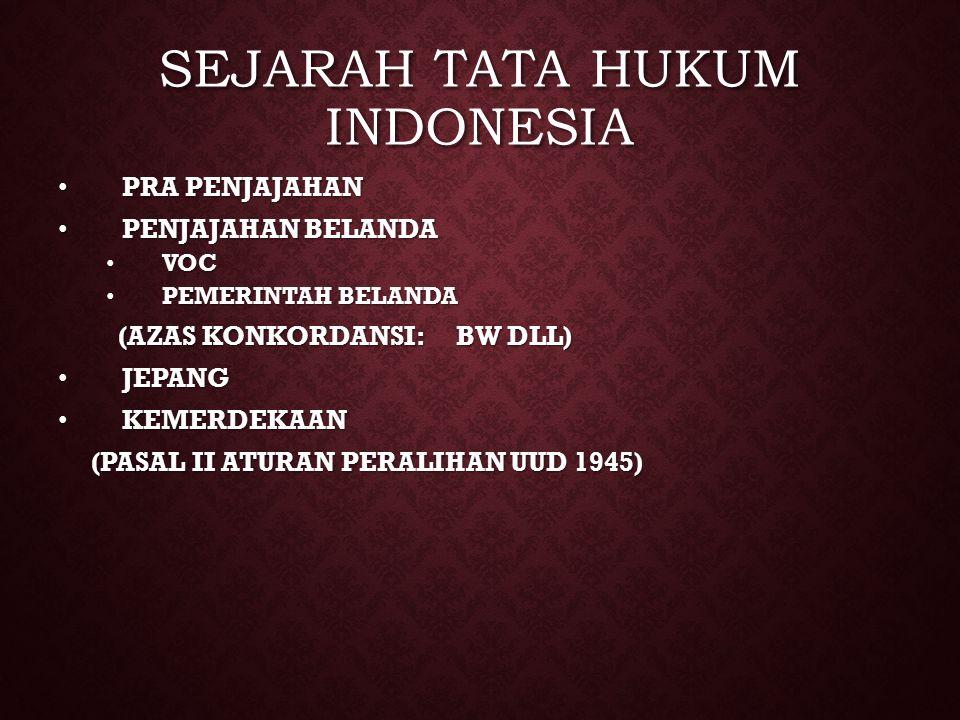 SEJARAH TATA HUKUM INDONESIA PRA PENJAJAHAN PRA PENJAJAHAN PENJAJAHAN BELANDA PENJAJAHAN BELANDA VOC VOC PEMERINTAH BELANDA PEMERINTAH BELANDA (AZAS K