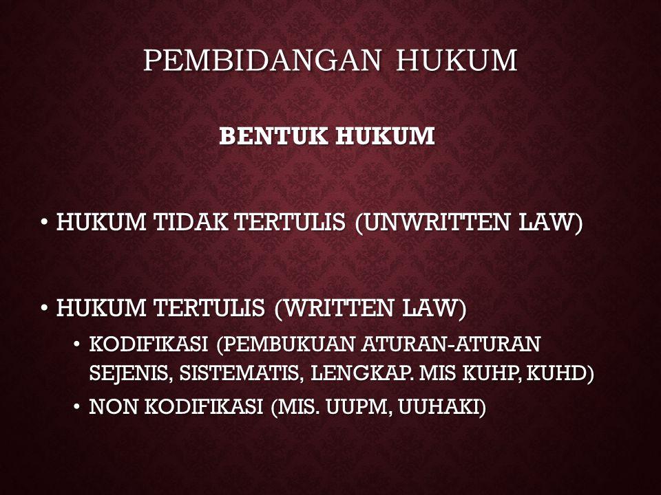 PEMBIDANGAN HUKUM BENTUK HUKUM HUKUM TIDAK TERTULIS (UNWRITTEN LAW) HUKUM TIDAK TERTULIS (UNWRITTEN LAW) HUKUM TERTULIS (WRITTEN LAW) HUKUM TERTULIS (
