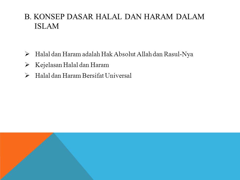 B. KONSEP DASAR HALAL DAN HARAM DALAM ISLAM  Halal dan Haram adalah Hak Absolut Allah dan Rasul-Nya  Kejelasan Halal dan Haram  Halal dan Haram Ber