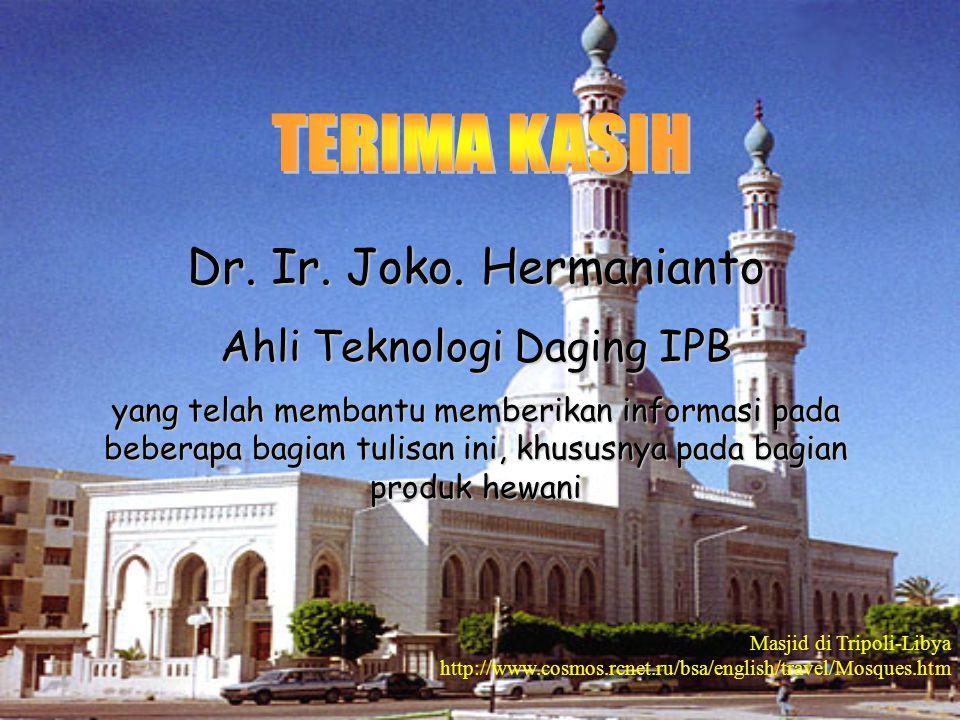 Dr. Ir. Joko. Hermanianto Ahli Teknologi Daging IPB yang telah membantu memberikan informasi pada beberapa bagian tulisan ini, khususnya pada bagian p