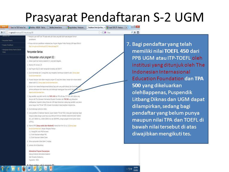 Prasyarat Pendaftaran S-2 UGM 7.