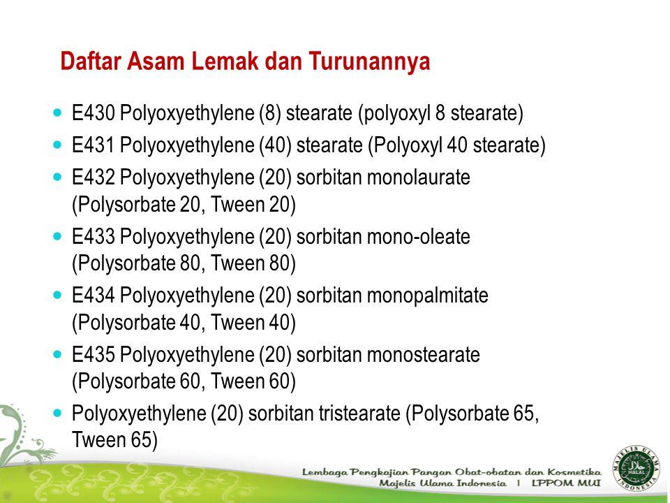 Daftar Asam Lemak dan Turunannya E430 Polyoxyethylene (8) stearate (polyoxyl 8 stearate) E431 Polyoxyethylene (40) stearate (Polyoxyl 40 stearate) E43