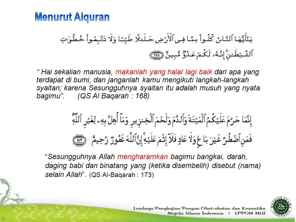 """"""" Hai sekalian manusia, makanlah yang halal lagi baik dari apa yang terdapat di bumi, dan janganlah kamu mengikuti langkah-langkah syaitan; karena Ses"""