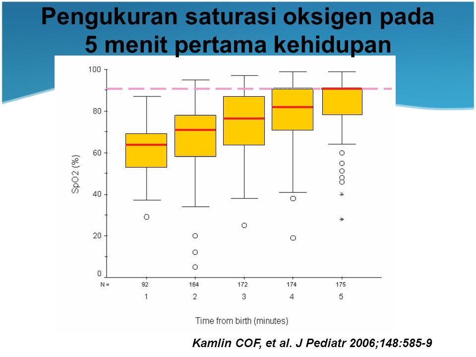 Pengukuran saturasi oksigen pada 5 menit pertama kehidupan Kamlin COF, et al.