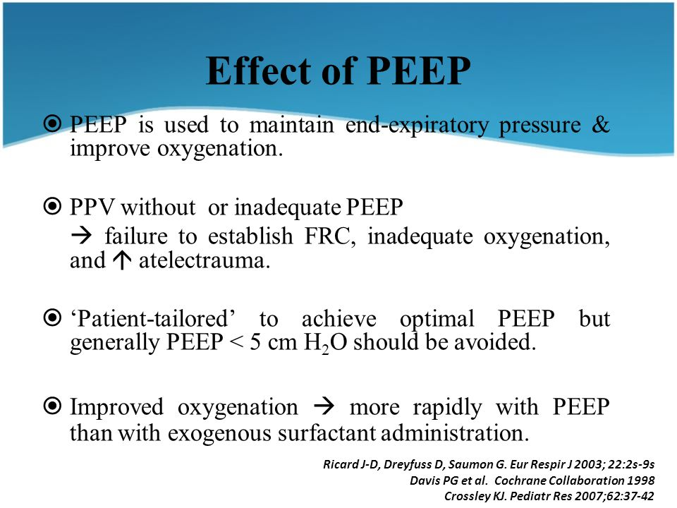 Effect of PEEP  PEEP is used to maintain end-expiratory pressure & improve oxygenation.  PPV without or inadequate PEEP  failure to establish FRC,