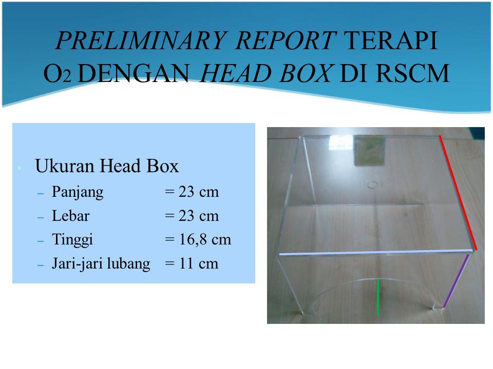 PRELIMINARY REPORT TERAPI O 2 DENGAN HEAD BOX DI RSCM Ukuran Head Box – Panjang= 23 cm – Lebar = 23 cm – Tinggi= 16,8 cm – Jari-jari lubang= 11 cm