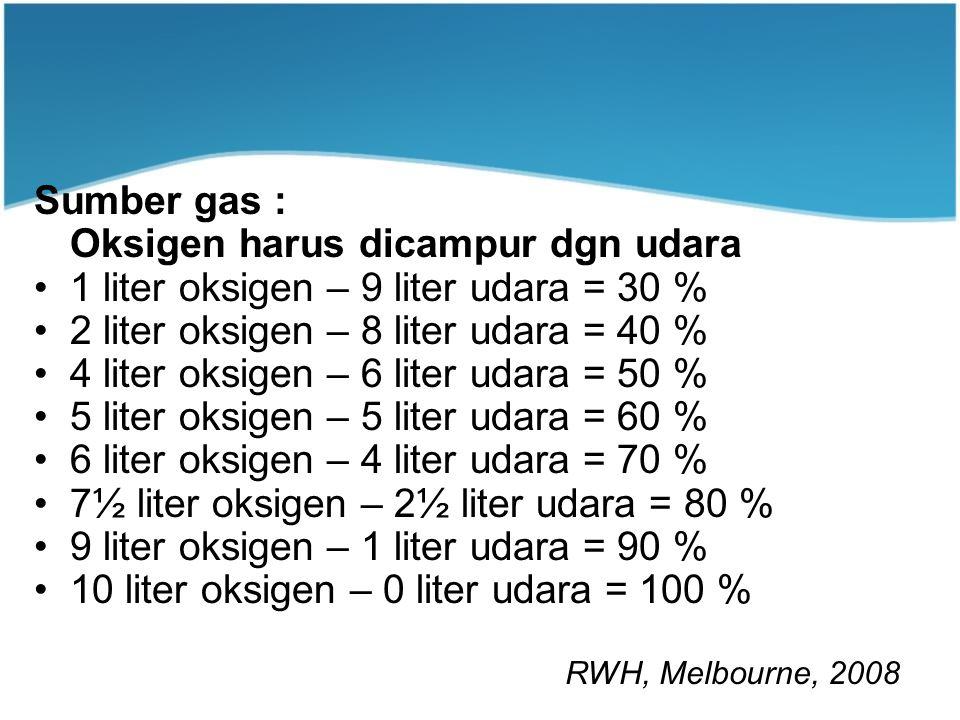 Sumber gas : Oksigen harus dicampur dgn udara 1 liter oksigen – 9 liter udara = 30 % 2 liter oksigen – 8 liter udara = 40 % 4 liter oksigen – 6 liter udara = 50 % 5 liter oksigen – 5 liter udara = 60 % 6 liter oksigen – 4 liter udara = 70 % 7½ liter oksigen – 2½ liter udara = 80 % 9 liter oksigen – 1 liter udara = 90 % 10 liter oksigen – 0 liter udara = 100 % RWH Procedure Manual 2005 RWH, Melbourne, 2008