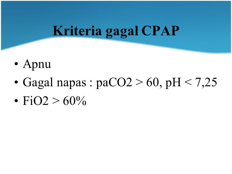 Kriteria gagal CPAP Apnu Gagal napas : paCO2 > 60, pH < 7,25 FiO2 > 60%