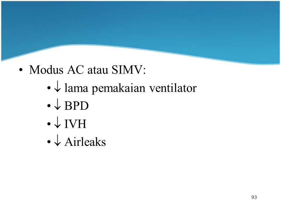 93 Modus AC atau SIMV:  lama pemakaian ventilator  BPD  IVH  Airleaks