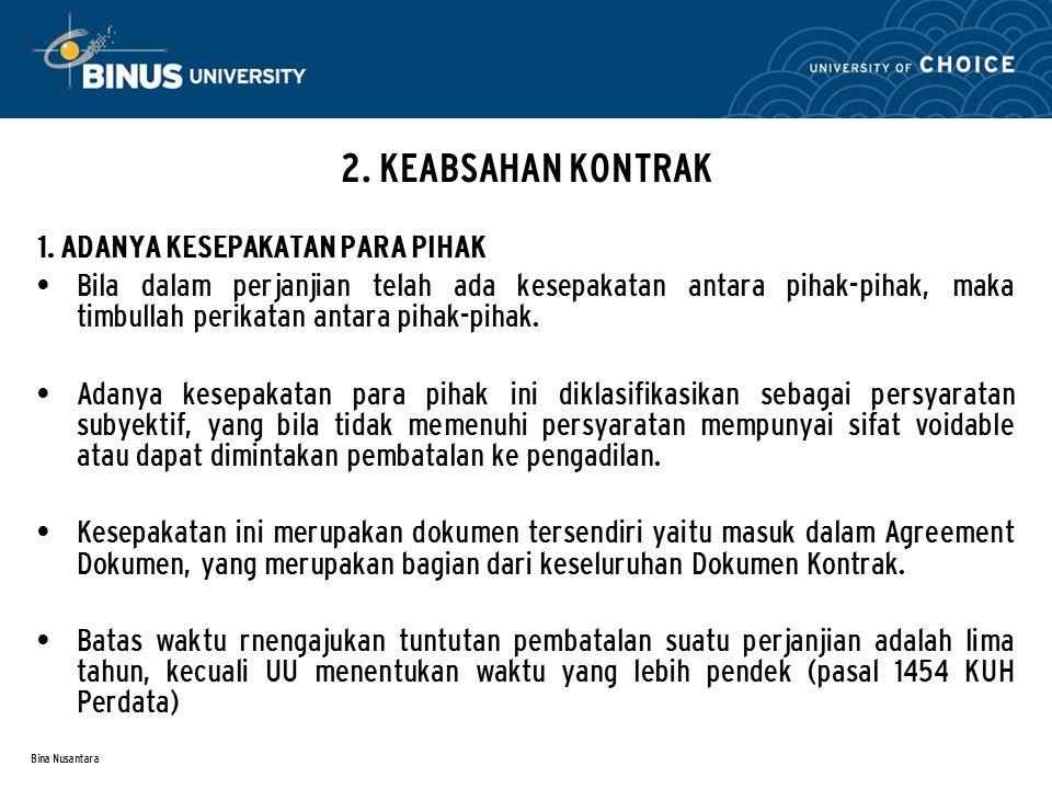 Bina Nusantara 2.KEABSAHAN KONTRAK 2.