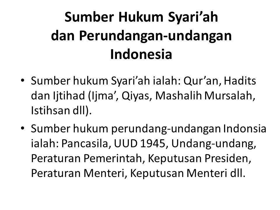 Sumber Hukum Syari'ah dan Perundangan-undangan Indonesia Sumber hukum Syari'ah ialah: Qur'an, Hadits dan Ijtihad (Ijma', Qiyas, Mashalih Mursalah, Ist