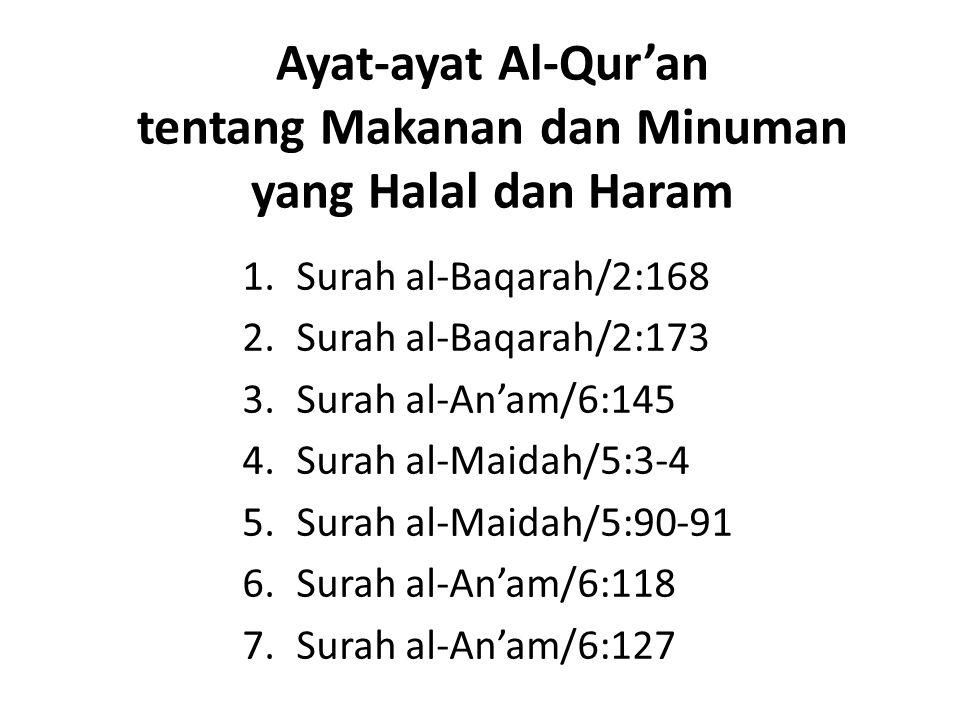 Ayat-ayat Al-Qur'an tentang Makanan dan Minuman yang Halal dan Haram 1.Surah al-Baqarah/2:168 2.Surah al-Baqarah/2:173 3.Surah al-An'am/6:145 4.Surah