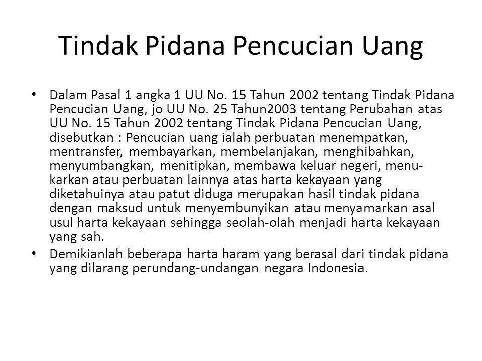 Tindak Pidana Pencucian Uang Dalam Pasal 1 angka 1 UU No. 15 Tahun 2002 tentang Tindak Pidana Pencucian Uang, jo UU No. 25 Tahun2003 tentang Perubahan