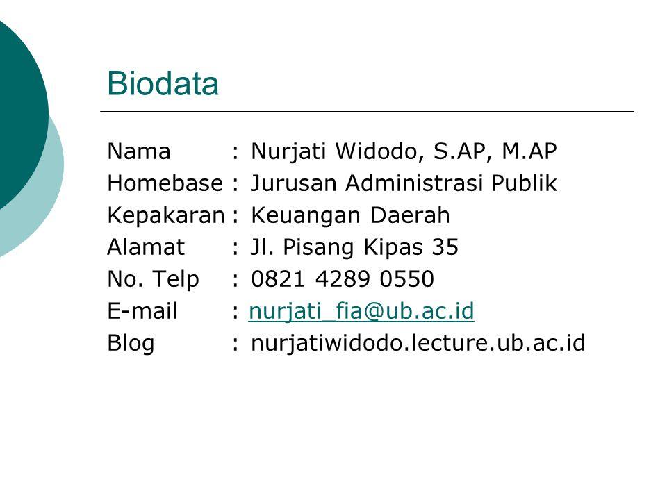 Biodata Nama:Nurjati Widodo, S.AP, M.AP Homebase:Jurusan Administrasi Publik Kepakaran:Keuangan Daerah Alamat:Jl. Pisang Kipas 35 No. Telp:0821 4289 0