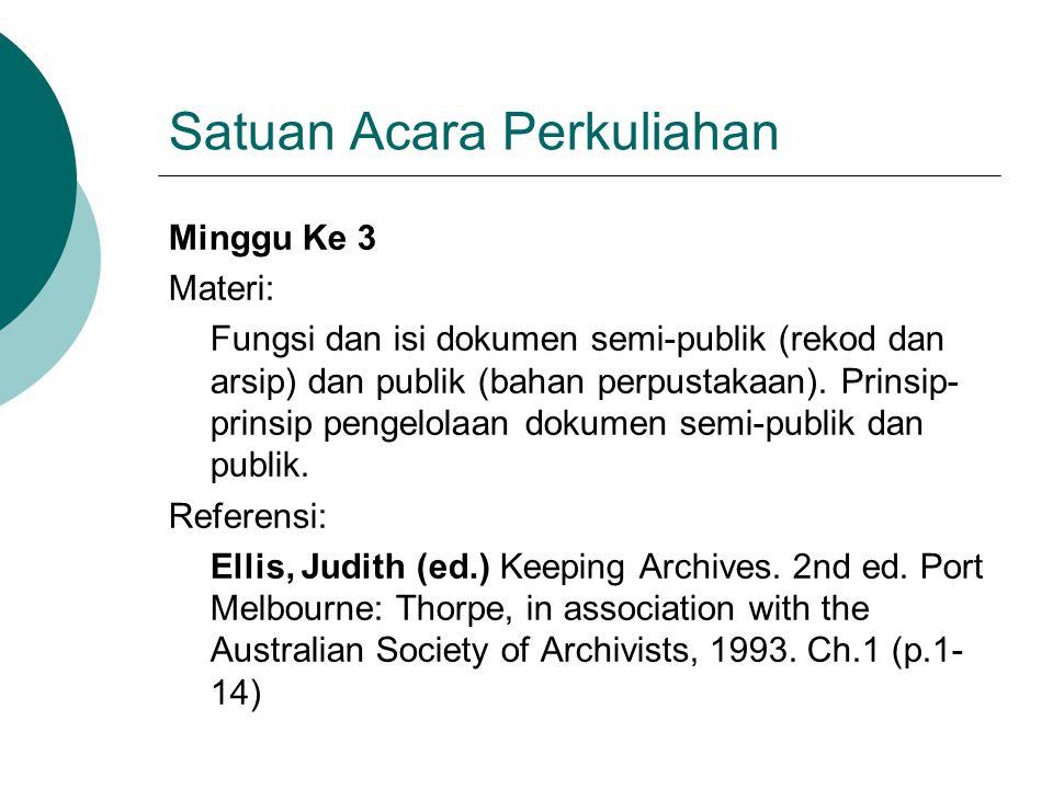 Satuan Acara Perkuliahan Minggu Ke 3 Materi: Fungsi dan isi dokumen semi-publik (rekod dan arsip) dan publik (bahan perpustakaan). Prinsip- prinsip pe