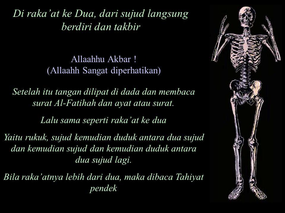 Allaahhu Akbar ! (Allaahh Sangat diperhatikan) Setelah itu tangan dilipat di dada dan membaca surat Al-Fatihah dan ayat atau surat. Lalu sama seperti