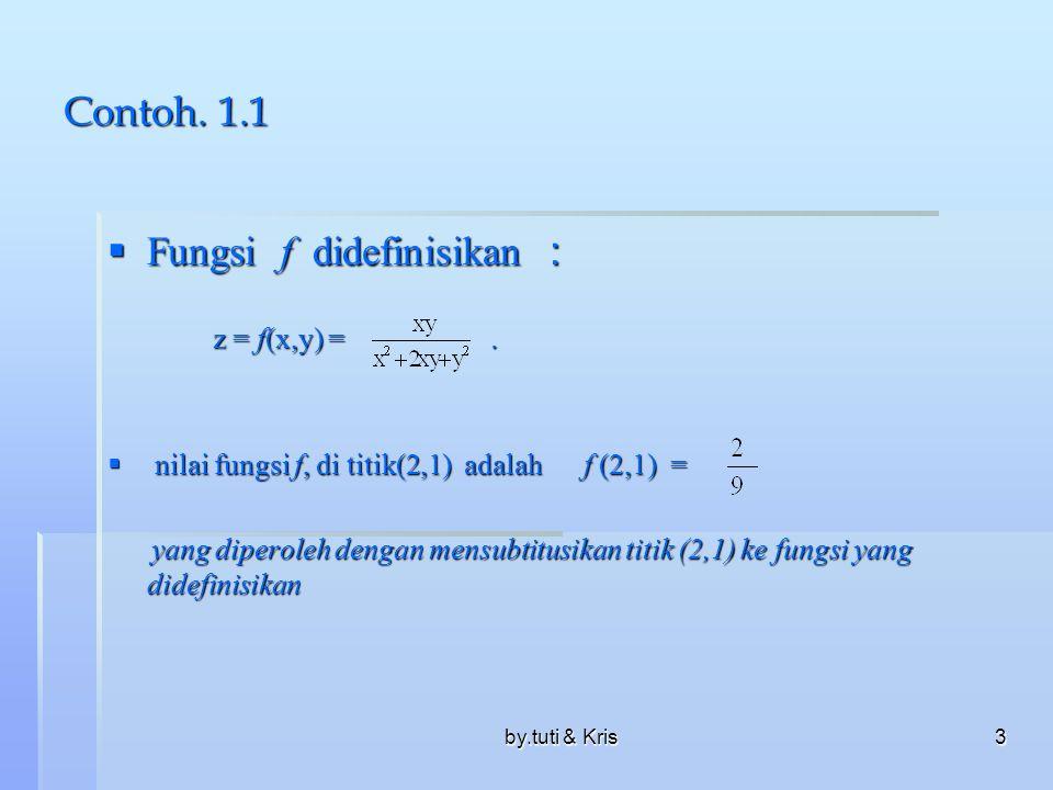 by.tuti & Kris3 Contoh. 1.1  Fungsi f didefinisikan : z = f(x,y) =.  nilai fungsi f, di titik(2,1) adalah f (2,1) = yang diperoleh dengan mensubtitu