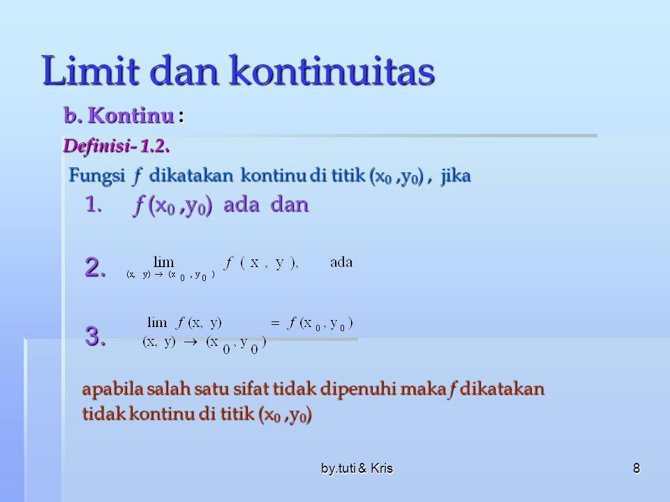 by.tuti & Kris8 Limit dan kontinuitas b. Kontinu : Definisi- 1.2. Fungsi f dikatakan kontinu di titik (x 0,y 0 ), jika Fungsi f dikatakan kontinu di t