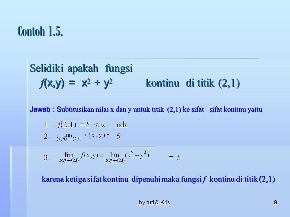 by.tuti & Kris9 Contoh 1.5. Selidiki apakah fungsi f (x,y) = x 2 + y 2 kontinu di titik (2,1) Jawab : S ubtitusikan nilai x dan y untuk titik (2,1) ke