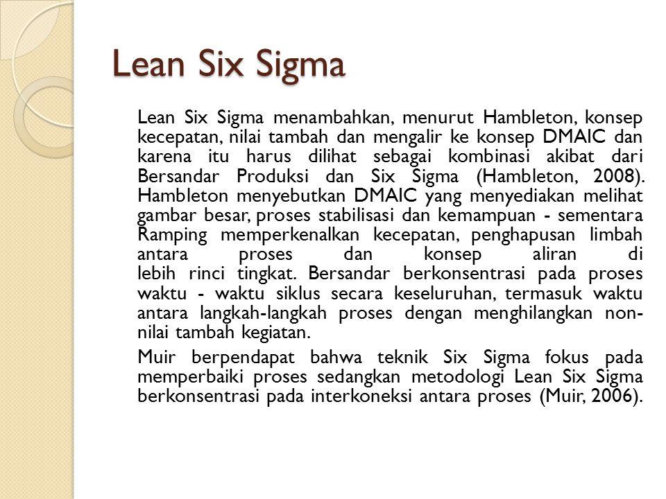 Lean Six Sigma Lean Six Sigma menambahkan, menurut Hambleton, konsep kecepatan, nilai tambah dan mengalir ke konsep DMAIC dan karena itu harus dilihat