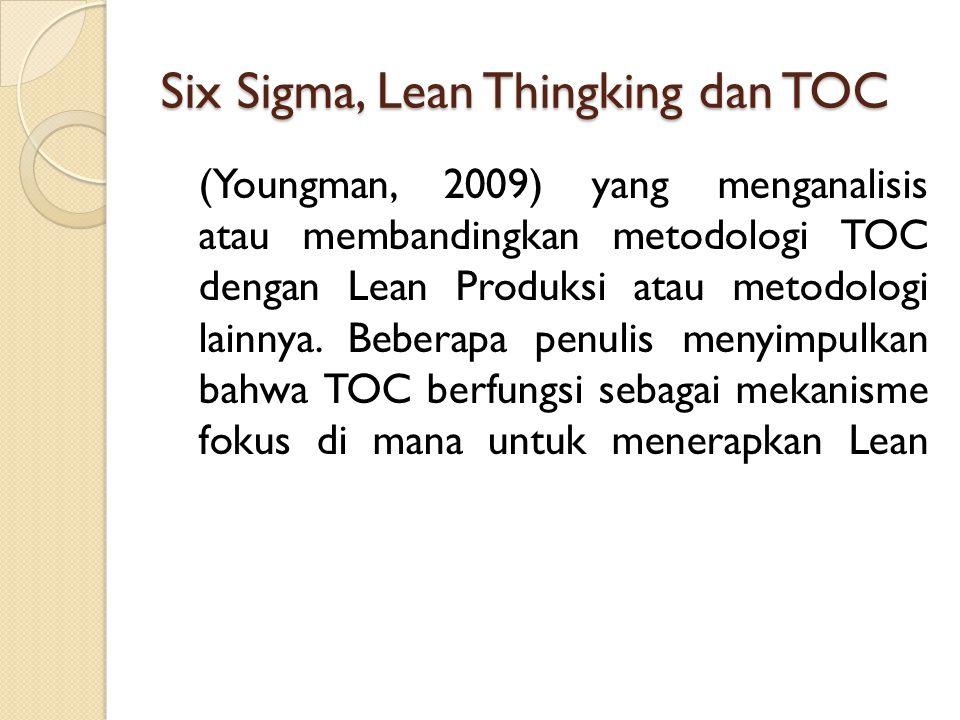 Six Sigma, Lean Thingking dan TOC (Youngman, 2009) yang menganalisis atau membandingkan metodologi TOC dengan Lean Produksi atau metodologi lainnya. B