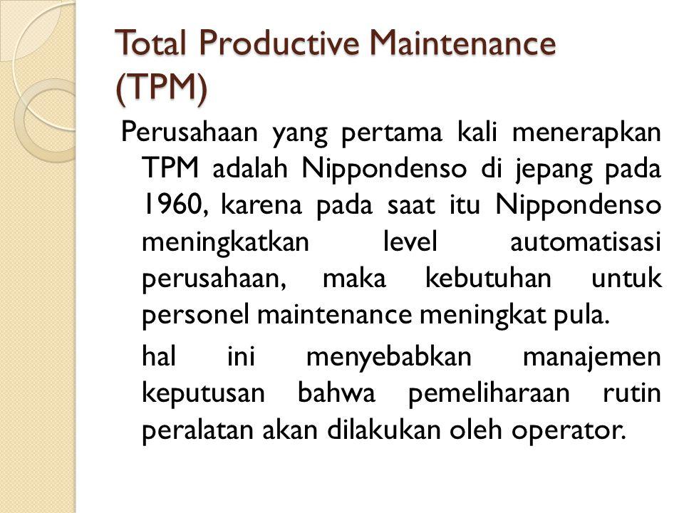 Total Productive Maintenance (TPM) Perusahaan yang pertama kali menerapkan TPM adalah Nippondenso di jepang pada 1960, karena pada saat itu Nippondens