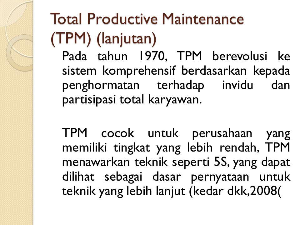 Total Productive Maintenance (TPM) (lanjutan) Pada tahun 1970, TPM berevolusi ke sistem komprehensif berdasarkan kepada penghormatan terhadap invidu d