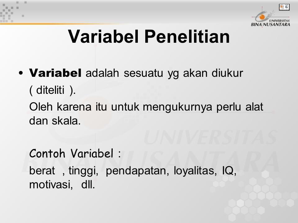 Variabel Independet : Vabel penyebab terhadap variabel dependent Variabel Dependent : variabel akibat dari variabel independent.