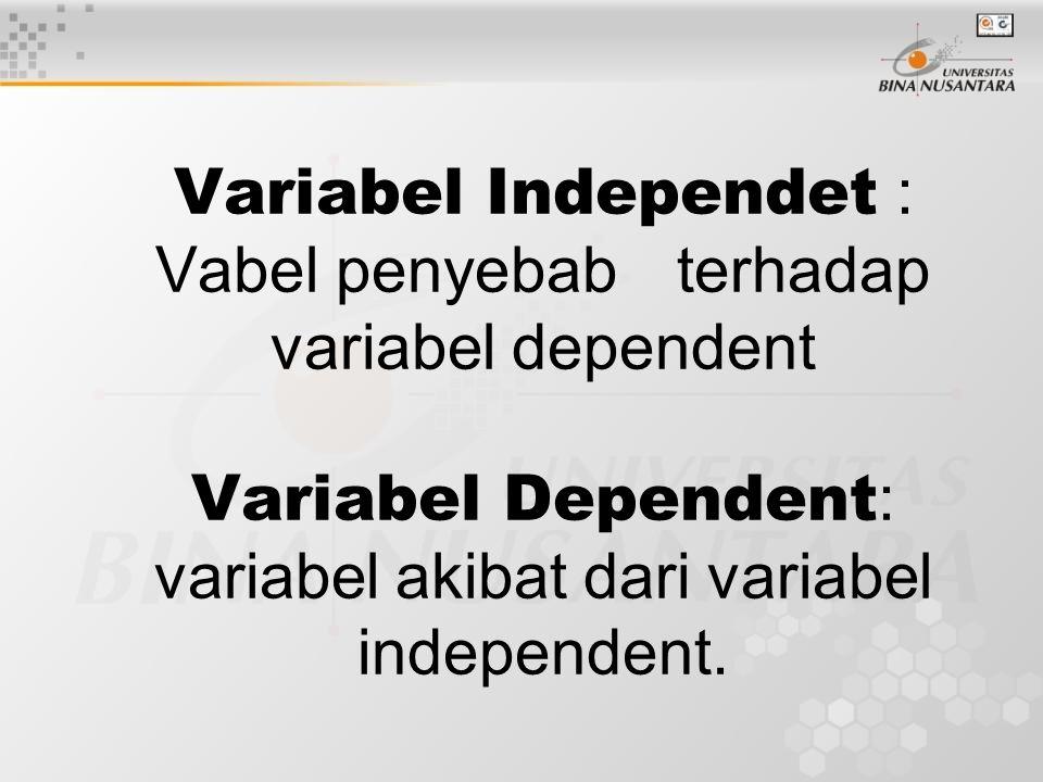  Variabel Intervening : variabel yang diduga berpengaruh tetapi sulit untuk diukur.