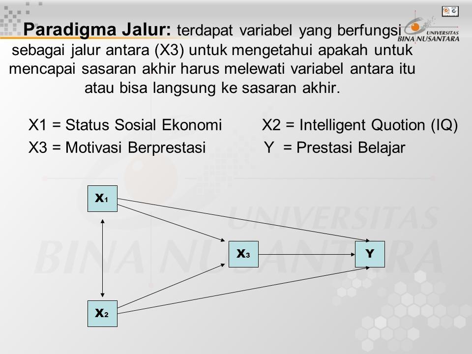 Paradigma Jalur: terdapat variabel yang berfungsi sebagai jalur antara (X3) untuk mengetahui apakah untuk mencapai sasaran akhir harus melewati variabel antara itu atau bisa langsung ke sasaran akhir.
