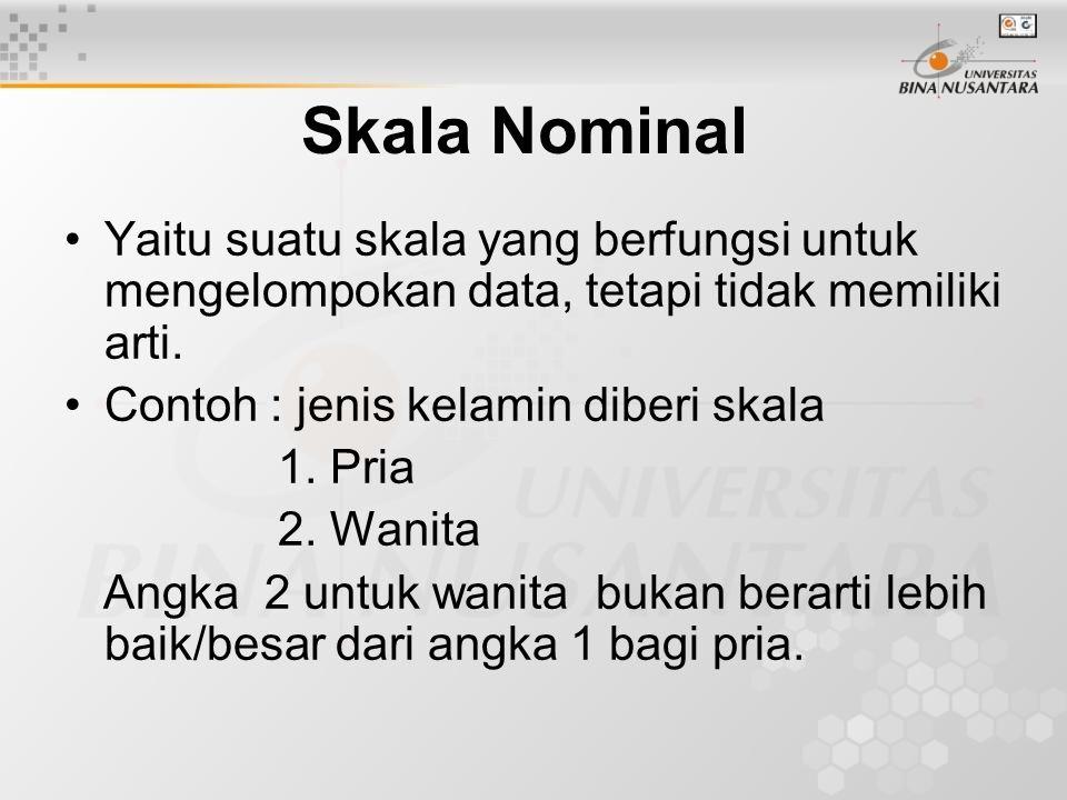 Skala interval Yaitu skala yang memiliki nilai dengan jarak sama.