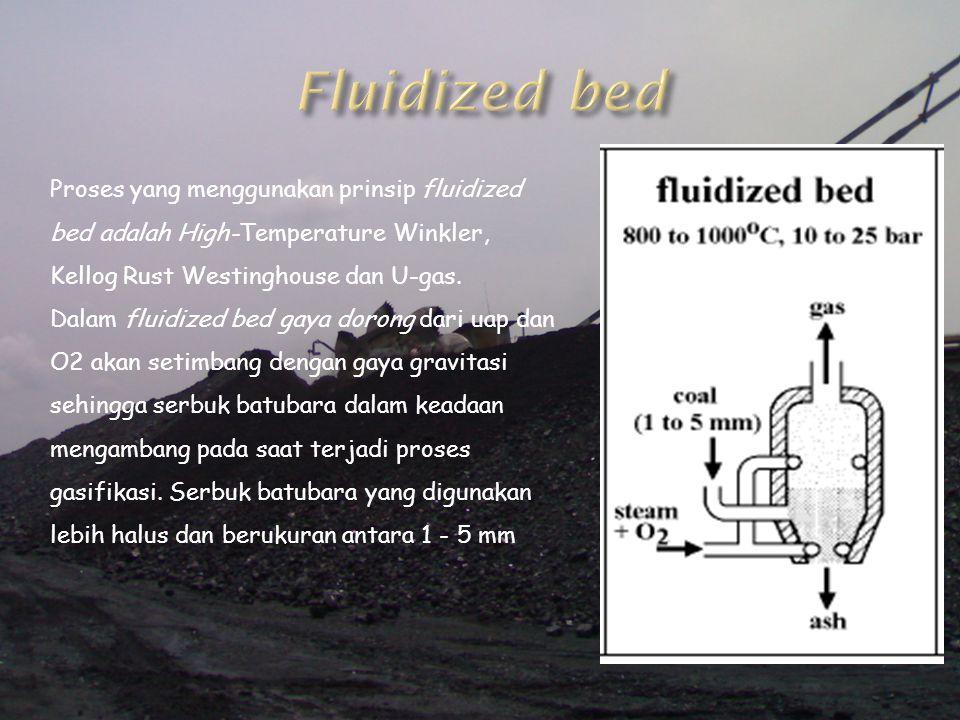 Proses yang menggunakan prinsip fluidized bed adalah High-Temperature Winkler, Kellog Rust Westinghouse dan U-gas. Dalam fluidized bed gaya dorong dar