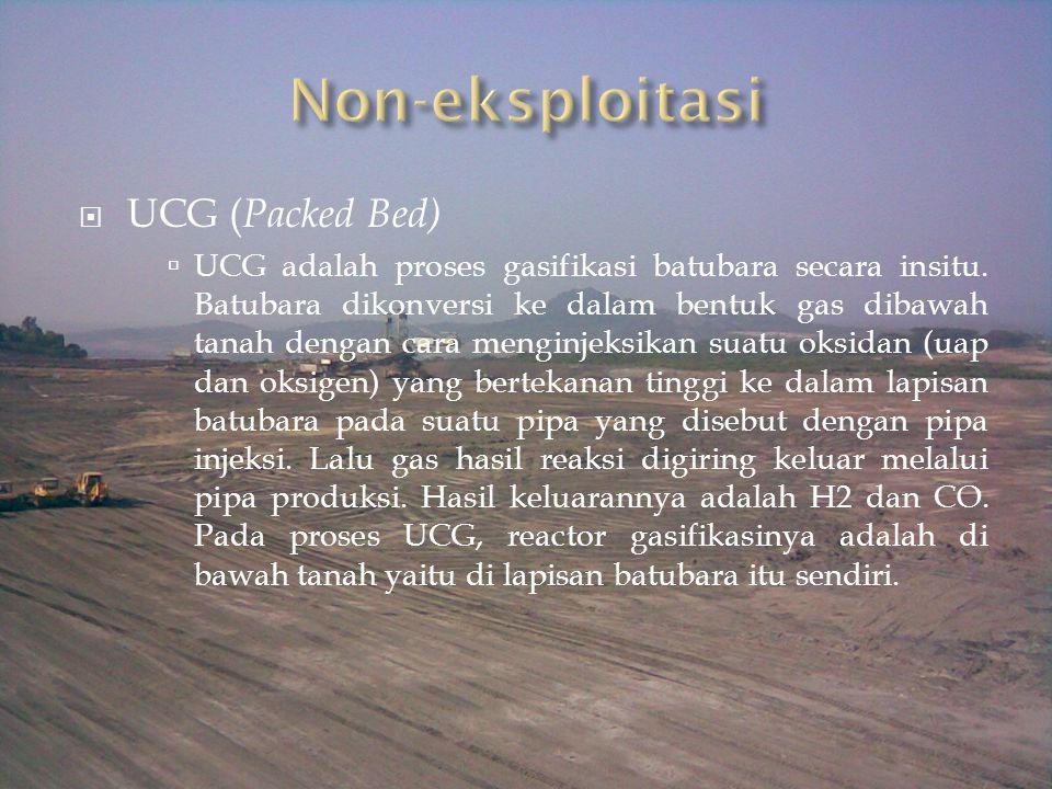 UCG ( Packed Bed)  UCG adalah proses gasifikasi batubara secara insitu. Batubara dikonversi ke dalam bentuk gas dibawah tanah dengan cara menginjek