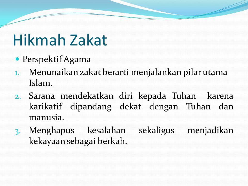 Hikmah Zakat Perspektif Agama 1. Menunaikan zakat berarti menjalankan pilar utama Islam. 2. Sarana mendekatkan diri kepada Tuhan karena karikatif dipa