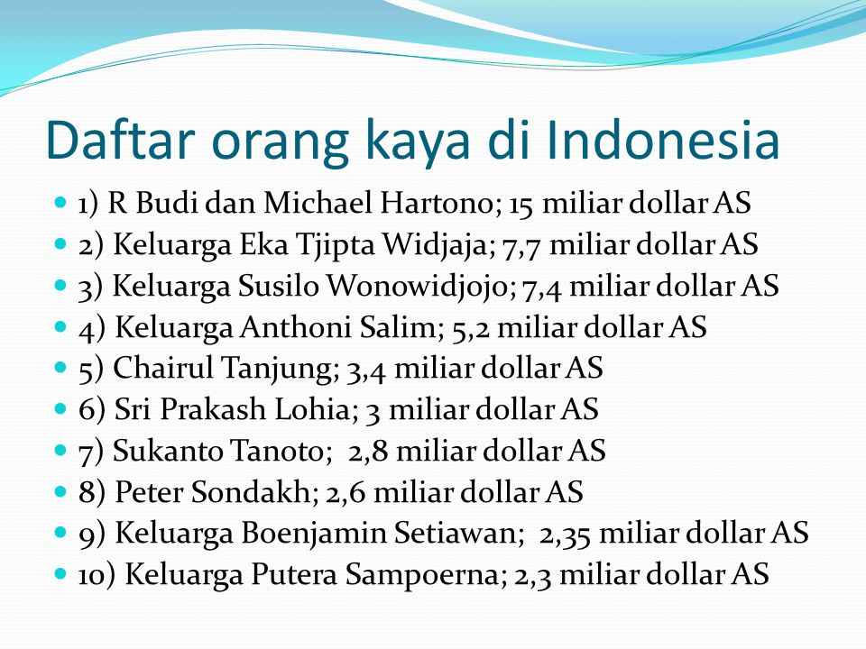 Daftar orang kaya di Indonesia 1) R Budi dan Michael Hartono; 15 miliar dollar AS 2) Keluarga Eka Tjipta Widjaja; 7,7 miliar dollar AS 3) Keluarga Sus