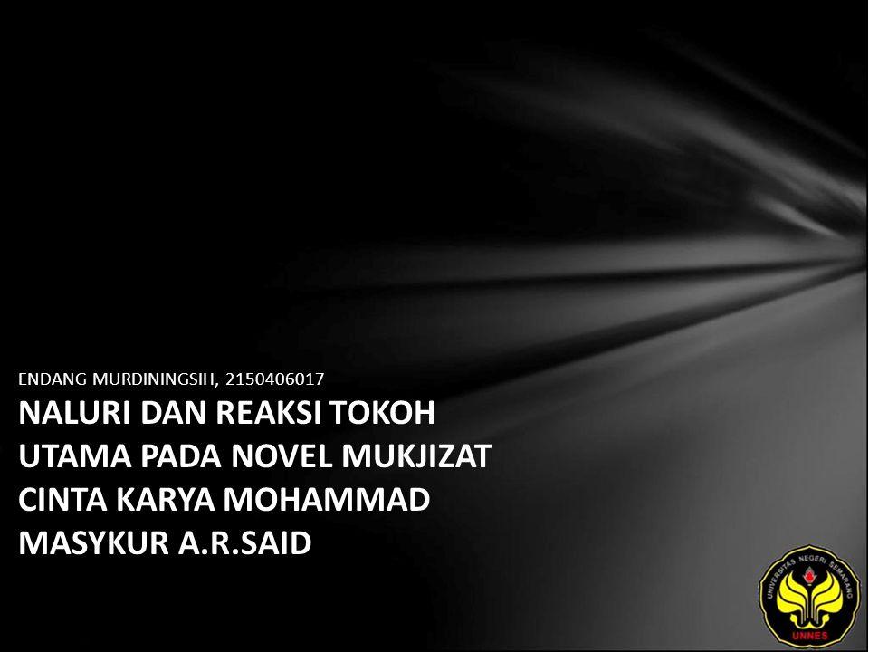 Identitas Mahasiswa - NAMA : ENDANG MURDININGSIH - NIM : 2150406017 - PRODI : Sastra Indonesia - JURUSAN : Bahasa & Sastra Indonesia - FAKULTAS : Bahasa dan Seni - EMAIL : enda pada domain yahoo.co.id - PEMBIMBING 1 : Prof.Dr.Agus Nuryatin,M.Hum.