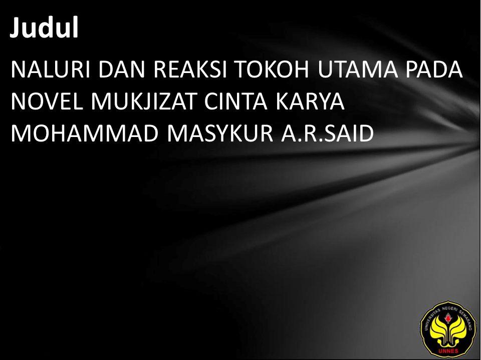 Abstrak Novel Mukjizat Cinta karya Muhammad Masykur A.R.Said menyajikan kepribadian tokoh Afdhal yang tergolong dalam dua naluri, yaitu naluri kehidupan dan naluri kematian.