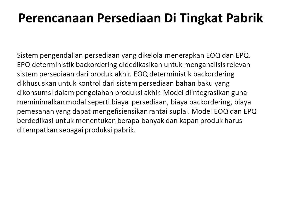 Pengembangan Model EPQ EPQ deterministik mengembangkan backorder murni.