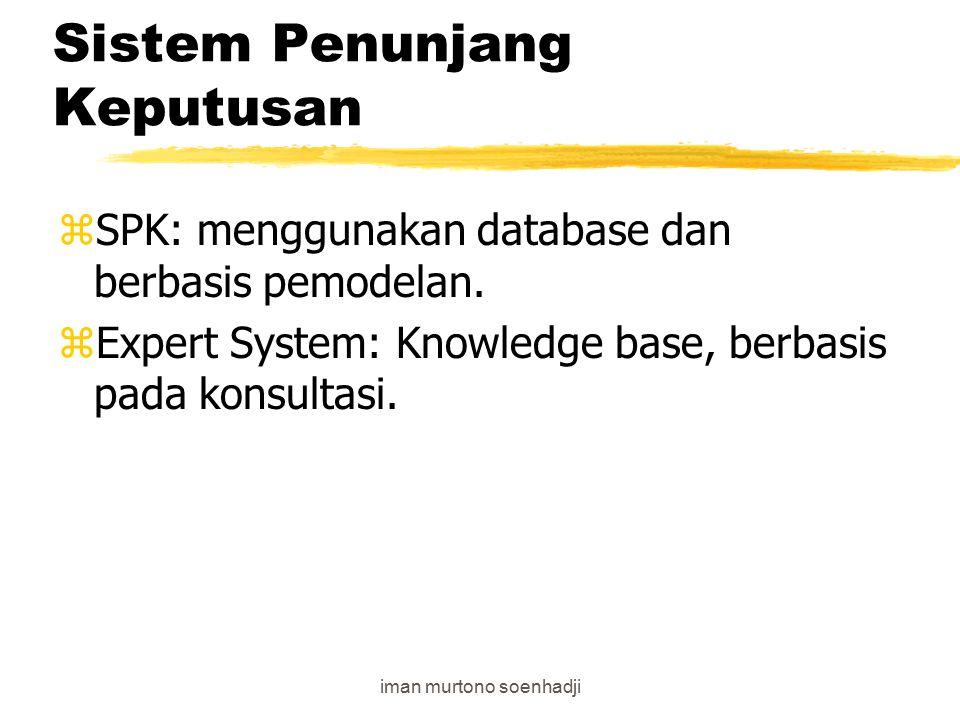 iman murtono soenhadji Sistem Penunjang Keputusan zKomponen model management; merubah data menjadi informasi yang relevan (dynamic/linear) zKomponen data management; yaitu semua basis data yang dapat diakses zKomponen penunjang: teknologi software dan hardware (Access,dBase,Oracle dsb)