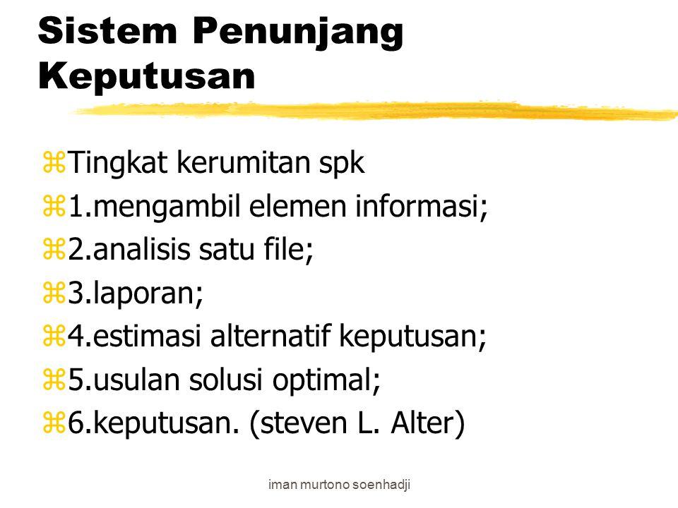 iman murtono soenhadji Sistem Penunjang Keputusan zSpk dibedakan menjadi zmodel driven DSS, dan data driven DSS zSpk era 1980 berbasis model driven (data terbatas) zSetelah era 90 berbasis model driven dengan mengandalkan data warehous