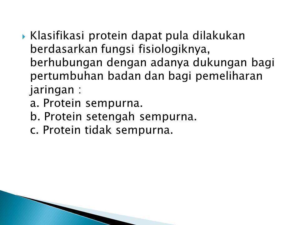  Klasifikasi protein dapat pula dilakukan berdasarkan fungsi fisiologiknya, berhubungan dengan adanya dukungan bagi pertumbuhan badan dan bagi pemeli