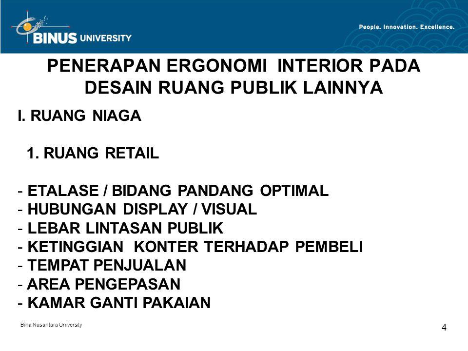 Bina Nusantara University 4 PENERAPAN ERGONOMI INTERIOR PADA DESAIN RUANG PUBLIK LAINNYA I. RUANG NIAGA 1. RUANG RETAIL - ETALASE / BIDANG PANDANG OPT