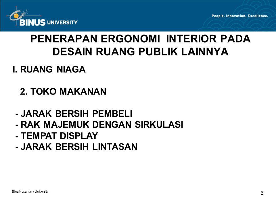 Bina Nusantara University 5 PENERAPAN ERGONOMI INTERIOR PADA DESAIN RUANG PUBLIK LAINNYA I. RUANG NIAGA 2. TOKO MAKANAN - JARAK BERSIH PEMBELI - RAK M