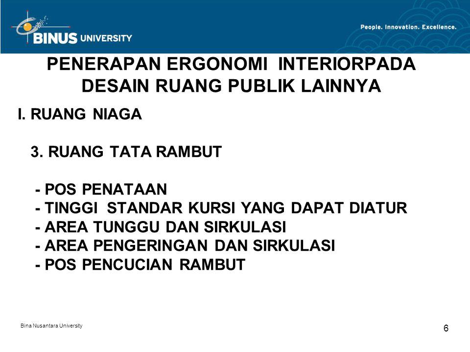 Bina Nusantara University 6 PENERAPAN ERGONOMI INTERIORPADA DESAIN RUANG PUBLIK LAINNYA I. RUANG NIAGA 3. RUANG TATA RAMBUT - POS PENATAAN - TINGGI ST