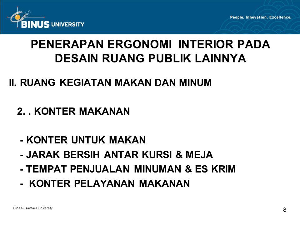 Bina Nusantara University 8 PENERAPAN ERGONOMI INTERIOR PADA DESAIN RUANG PUBLIK LAINNYA II. RUANG KEGIATAN MAKAN DAN MINUM 2.. KONTER MAKANAN - KONTE